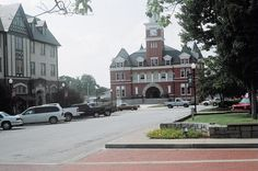 Elberton (GA) Public Square, Courthouse in center, 1925 Hotel Bldg. on left