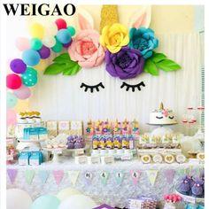 acquistare WEIGAO FAI DA TE Unicorn Set Artificiali Fiori di Rosa Festa di Compleanno Decorazioni Festa A Tema Banners Cake Toppers Foil Balloons Rifornimento