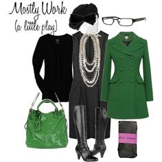 Work outfit with green double breasted coat