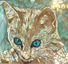 Blue eyes kitten mosaic by Anne BEDEL 2016