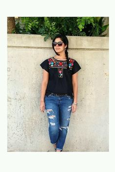 I love Spanish style. Black with Multi Color Embroidery Mexican Embroidered Dress, Mexican Blouse, Mexican Outfit, Mexican Dresses, Mexican Top, Casual Outfits, Cute Outfits, Fashion Outfits, Casual Wear