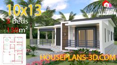 House design Plans with 3 Bedrooms terrace roof - House Plans House Design 3d, Simple House Design, Home Building Design, Simple House Plans, Dream House Plans, 30x40 House Plans, Single Storey House Plans, Casa Top, Flat Roof House