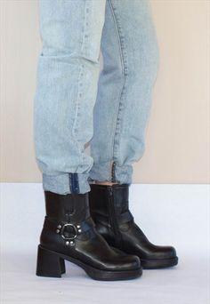 Vintage+Ravel+90's+Block+Heel++Leather+Boots+UK4.5/5
