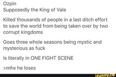 That fight scene! He lost to Cinder, of all pathetic people, PLUS we barely even got to see the fight because it was dark with only flashes of light. Ozpin better have lost on purpose, and we better actually SEE the fight when he goes up against Salem! (I'm assuming at some point he'll go up against Salem, right? Right?)
