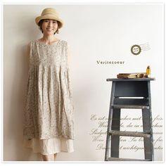 【Veritecoeur ヴェリテクール】リネン スリーブレス タック ワンピース (vc891)