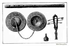 Flute, cymbals, bell and a sistrum - ancient Egyptian musical instruments