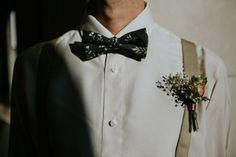 Linnèo Archivable Clothing. Modern groom. floral blue bowtie. braces. Bespoke shirt. Unconventional Wedding. Boho wedding. Bespoke suit.