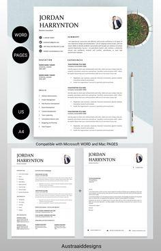 Resume Cover Letter Template, Modern Resume Template, Creative Resume Templates, Cv Template, Letter Templates, Resume Ideas, Application Letters, Professional Resume, Word Doc