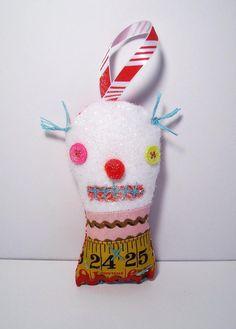 Handmade Monster Plush Ornament Merry Monster by JunkerJane, $12.00