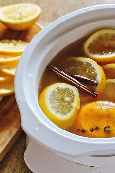 Slow Cooker Hot Mulled Apple Cider. Apple cider with oranges, lemons, brown sugar, cloves and cinnamon sticks