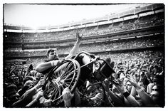 i generally hate crowd surfers but how amazing is this? from a megadeth/slayer/anthrax/metallica concert at yankee stadium (nyc).