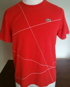 Men's Lacoste Sport Red Crew Neck Short Sleeve Shirt Size 5 Large F 5191 #Lacoste #CrewNeckTeeShirt