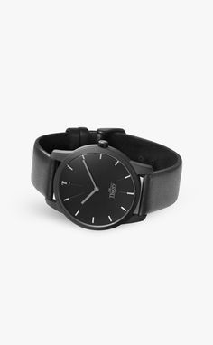 Matte All Black watch with black leather strap by Our Theory Of | Get 10% off with discount code: matthijskok