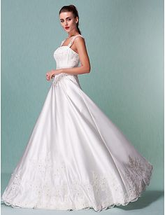 Lanting A-line Petite / Plus Sizes Wedding Dress - Ivory Floor-length Square Satin 2016 - $109.99