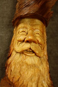 Wood Carving of a Wood Spirit Art Sculpture by TreeWizWoodCarvings