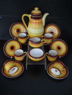 SUPERB VINTAGE ART DECO GRAYS POTTERY SUSIE COOPER COFFEE SET VIBRANT COMPLETE
