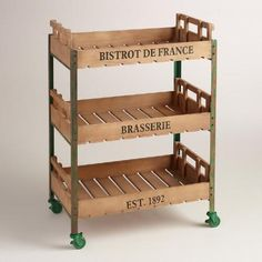 One of my favorite discoveries at WorldMarket.com: Green Metal and Wood Chantel Rolling Brasserie Cart