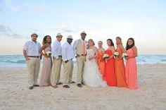 Beach wedding, tropical, sunset-theme, orange, coral, pink bridesmaid dresses