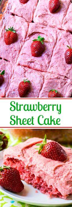 Strawberry Sheet Cake with fresh Strawberry Buttercream