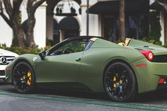 458 Spyder in matte military green..