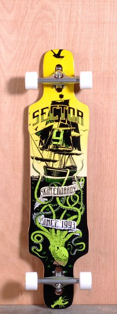 """The Sector 9 Dropper Longboard Complete is designed for Downhill, Sliding and Freeride. Ships fully assembled and ready to skate!  Function: Downhill, Sliding, Freeride  Features: Rocker, Concave, Up-Turned Nose and Tail, Drop Thru, Wheel Cut Outs  Material: 8 Ply Maple  Length: 40.875""""  Width: 9.6""""  Wheelbase: 28.875""""  Thickness: 5/8""""  Hole Pattern: New School and Old School  Grip: Black"""