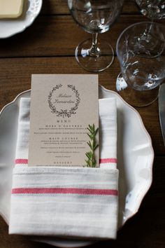 A single sprig of rosemary + napkin fold and menu photo: megan reeves Wedding Signage, Wedding Menu, Wedding Table, Wedding Ideas, Table Setting Photos, Table Settings, Hors D'oeuvres, Wedding Centerpieces, Wedding Decorations