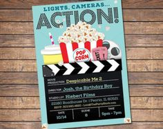 movie theater themed party invitations - Google Search