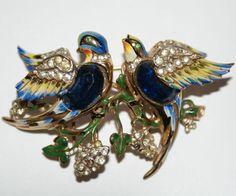 Coro Sterling Love Birds Enamel Rhinestone Duette Pin Brooch 1940's, Luminous Bijoux Exclusively on Ruby Lane