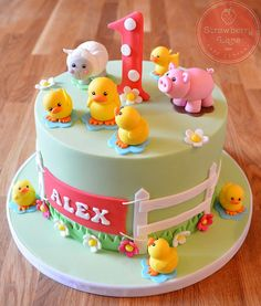 ideas for baby boy birthday cake farm animals Farm Birthday Cakes, Baby Boy Birthday Cake, Animal Birthday Cakes, Farm Animal Birthday, Birthday Animals, Fondant Cakes, Cupcake Cakes, Fondant Bow, Dog Cakes