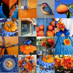 Orange and blue inspiration. I'm obsessed with orange and blue right now Blue And Green, Blue And White, Jaune Orange, Beautiful Collage, Color Harmony, Colour Schemes, Color Combinations, Color Palettes, Collages