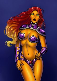 Starfire by on DeviantArt Starfire And Raven, Nightwing And Starfire, Comic Book Girl, Comic Books, Batgirl, Catwoman, Anime Comics, Dc Comics, Raven Color
