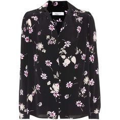 Valentino Floral-Printed Silk Blouse ($1,535) ❤ liked on Polyvore featuring tops, blouses, black, floral blouses, silk blouse, flower print tops, floral tops and flower print blouse