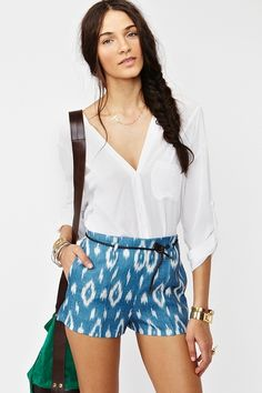Agustina Shorts, white button down, fishtail braid