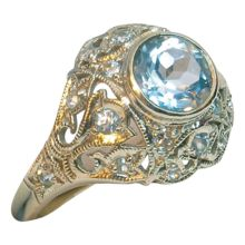CWS! 20% off the price shown on this 14k Art Deco Aquamarine Diamond Ring - Incredibly Beautiful!