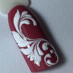Winter holidays nail art redand white decorated