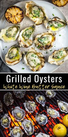 Grilled Oysters are amazing! This grilled oyster recipe details which types are best for grilling and an easy white wine butter sauce for topping. Grilled Oysters with White Wine Butter Sauce - Vind Bbq Oysters, Grilled Oysters, Grilled Seafood, Seafood Bbq, Seafood On The Grill, Spicy Appetizers, Appetizers For A Crowd, Baked Oyster Recipes, White Wine Butter Sauce