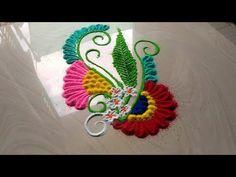 Rangoli kolam design,small easy rangoli,flowers rangoli designs with colours by jyoti Rathod Easy Rangoli Designs Videos, Rangoli Ideas, Colorful Rangoli Designs, Rangoli Designs Diwali, Rangoli Designs Images, Latest Rangoli, Simple Rangoli, Festival Decorations, Festive