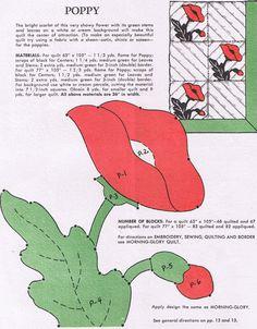 Flower Quilts – A Dozen Favorites from Grandmother's Garden – Q is for Quilter Applique Quilt Patterns, Applique Templates, Wool Applique, Applique Designs, Owl Templates, Applique Ideas, Felt Patterns, Star Quilt Blocks, Block Quilt