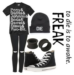 """""""Untitled #720"""" by xxghostlygracexx ❤ liked on Polyvore featuring Topshop, Converse and KAOS"""