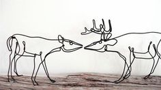 Buck and Doe Wire Sculpture161695978 by WiredbyBud on Etsy, $85.00