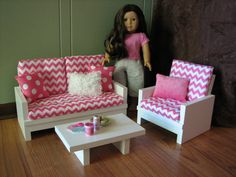 """American Girl sized Living Room / 18"""" Doll Furniture - Loveseat / Chair / Coffee Table - Hot Pink Chevron"""
