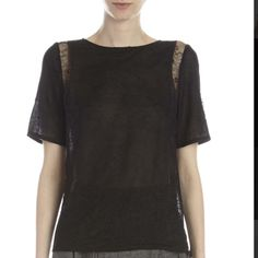 Auth Nina Ricci Lace Inset Blouse NWT retail$950 Black lace and silk Nina Ricci blouse. Loose fitting short sleeve with sheer lace panels at sides. Perfect for spring. Sold out; new with tags. Retail $950, TV= $150 Nina Ricci Tops Blouses