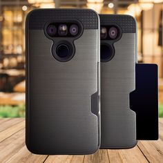 LG G6 cover -  card insert pocket cover space grey w FREE glass screen protector