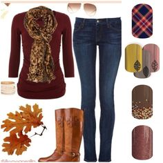 Fall may be finally here is So Cal - we're getting a storm soon and the weather has finally cooled a bit.  I sure hope it sticks!  This wonderful #fall outfit is accented w/ #Jamberry #NailWraps in #Tartan, #FallFancy, #AppleCider, and #AfterDark  #PrettyNails #NailArt #JamberryNails