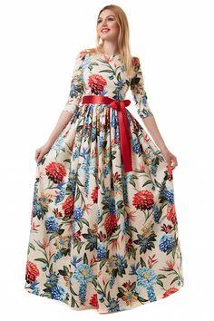 Великолепное платье «Райские цветы» из эластичного хлопка. Облегающий лиф, рукав ¾, сборка по окату, пышная юбка со сборкой на талии. Пояс – атласная лента. Коллекция весна/лето 2016.   Купить платье на http://www.thirtytri.com/#!product-page/gba22/1002c4f6-cf35-0001-187a-8874a793d3fe
