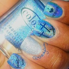 Color Club - Over the Moon (Blue), China Glaze - Glistening Snow. And The stamp was done with Kleancolor Black.  Stamping Plate: Konad S3