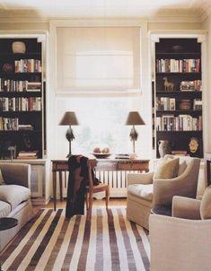 Love the black paint inside built-in book shelves...