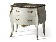 Louis XVI lacquered wooden bedside table with drawers MG 6456 Galleria Collection by OAK Industria Arredamenti