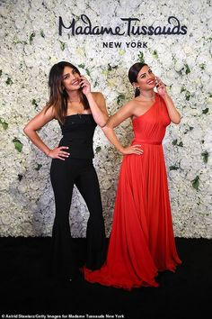 Priyanka Chopra Jonas can add wax figure to her already stellar resume with her Madame Tussauds debut in New York City this week Madame Tussauds, Photos Of Priyanka Chopra, Red Gowns, Bollywood Actors, Bollywood Style, Celebs, Celebrities, Looking Stunning, Indian Actresses