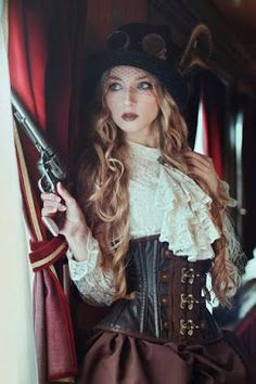 Steampunk Woman in Lace Blouse